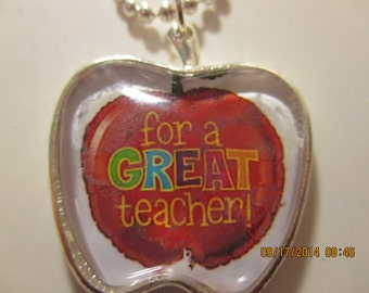 SALE For A Great Teacher Apple Necklace