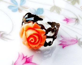 Orange Rose Ring Adjustable Antiqued Brass