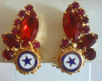 Delizza and Elster a/k/a Juliana American Legion Medallion  Themed Earrings (Hard to Find)