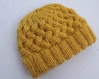 Hand Knit Cabled Apple Pie Hat. Double Brim Baby Hat. Hand Knit Baby Hat. Knit Yellow Baby Hat