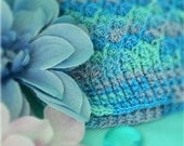 Shades of Blue and Purple Hand Crochet Diamond Ridges Hat with flower detail for baby girl, great for Spring - Made to Order