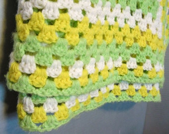 Cozy Crochet Blanket, spring colors, pastel yellow and green