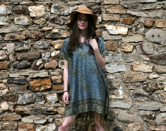 Indian Hippie Boho Gypsy Caftan Mini Dress Ethnic SILK & CASHMERE  - Denim Blue - One Size