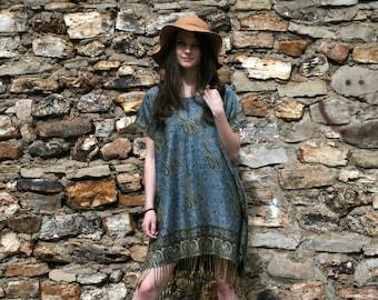 Sale Hippie Boho Gypsy Caftan Mini Dress Ethnic Indian SILK & CASHMERE  - Denim Blue - One Size