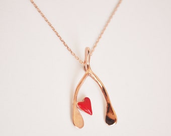 wishbone with heart necklace- free shipping- gold plated-sterling silver chain.