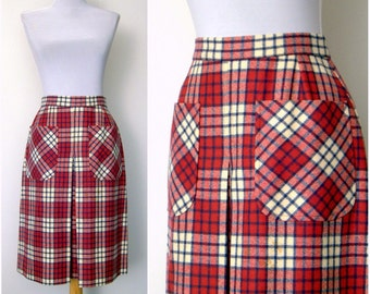 Vintage 60s raspberry plaid skirt mod apron pockets (small)