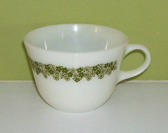 """Pyrex Collectible Replacement Coffee Mug/Cup """"Crazy Daisy"""" Green Flower"""