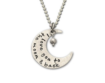 I LOVE YOU to the MOON and Back Disc Hand stamped necklace in Sterling Silver- In stock and ready to ship