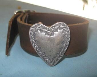 Sundance Leather Cuff Heart Concho Bracelet Dark Chocolate Brown with Gift Box
