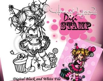 PRINTABLE Digi Stamp Birthday Girl Coloring Page Fun Fantasy Art Hannah Lynn