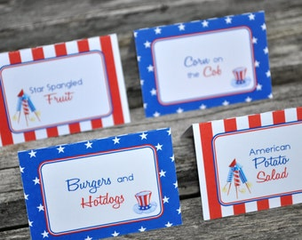 4th of July Food Label Buffet Cards - Fourth of July Party Decorations - Red, White and Blue - Set of 12 Personalized Cards