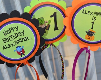 Halloween Birthday Centerpiece Sticks - Halloween Birthday Decorations - Halloween Party - Set of 3