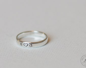 Couples Ring - Personalized Hand Stamped Ring - Sterling Silver - Heart
