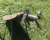 Shovel dog recycled garden yard art