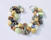 Button Bracelet Vintage Beach Themed Buttons MOP, Glass, Pewter, Shoe Buttons