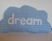 Cloud Pillow Dream Pastel Blue Gingham Cushion Powder Blue Applique