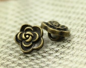 Metal Buttons - Rose Flower Metal Buttons , Antique Brass Color , Shank , 0.31 inch , 10 pcs