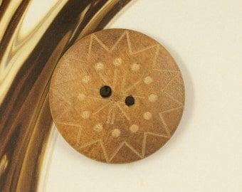 Wood Buttons - Sun Flower Carving Brown Wooden Buttons, 1 inch. 10 in a set