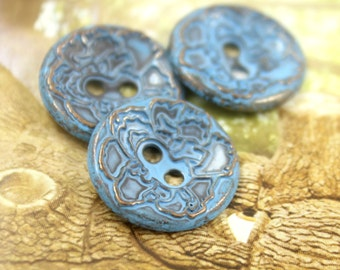 Metal Buttons - Hibiscus Metal Buttons , Blue Copper Color , Concave , 2 Holes , 0.79 inch , 10 pcs
