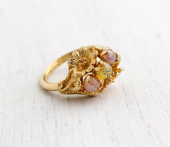 Vintage Faux Opal Ring Retro Three Stone 1970s Gold Tone
