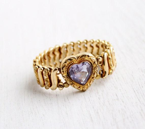 Vintage Expansion Purple Heart Sweetheart Bracelet Wwii Gold. Moonstone Necklace. Hand Bands. Lava Bracelet. Dragonfly Rings