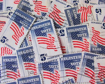 Register and Vote 30 Vintage Election US Postage Stamps Red White Blue American Flags Stars and Stripes 5c Democrat Republican Politics USA