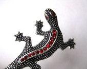 Vintage 50s Emmons Silver Jeweled Red Rhinestone Figural Lizard Brooch Pin