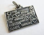 Vintage 50s Sterling Silver Hawaii State Souvenir Map Bracelet Charm