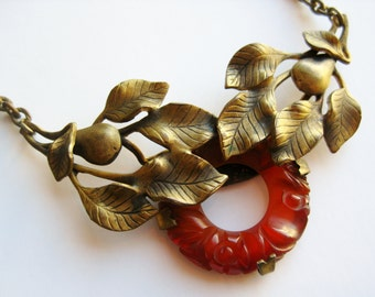 Exquisite Vintage 30s Art Deco Czech Gold Filigree Carnelian Necklace