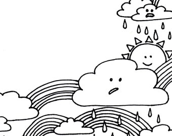 Happy Day Rainbows and Clouds Stationery and Envelope Set, rainbow coloring page, pen pal stationery, printable stationery
