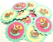 Coconut Tropical Coctail Embellishments Set of 12, Pool Party, Hawaiian, Summer Tags, Neon Party Embellishments, Handmade Paper Tags