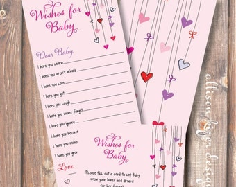 Printable Baby Shower Game - Heart on a String Wishes for Baby - INSTANT DOWLOAD