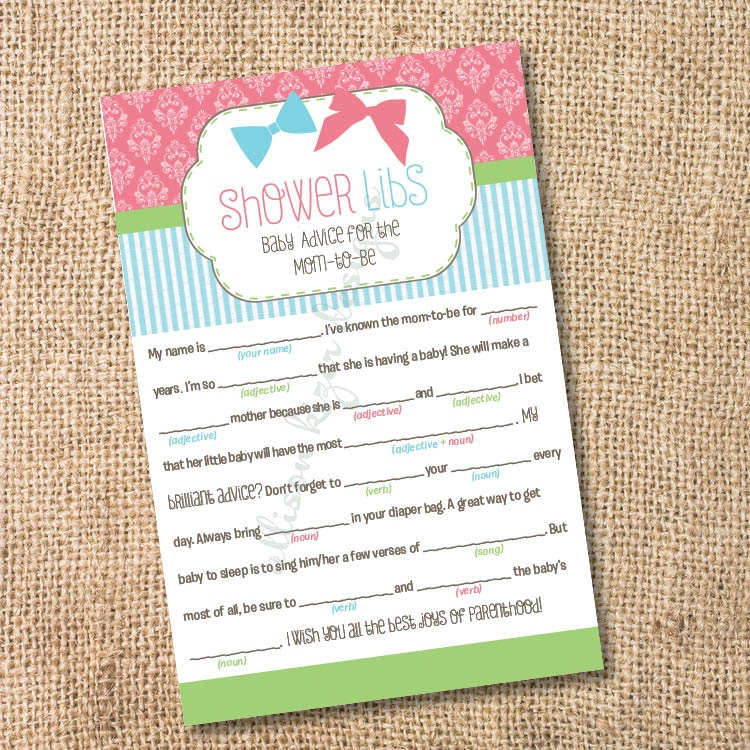 Printable Baby Shower Mad Libs Advice For The Mom-to-Be Bows