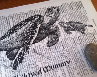Beloved Mummy Seaturtles Art Print on Antique 1896 Dictionary Book Page