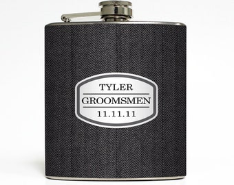 Custom Groomsmen Gift Personalized Whiskey Flask Bridal Party Best Man Usher Bachelor Party - Stainless Steel 6 oz Liquor Hip Flask LC-1109