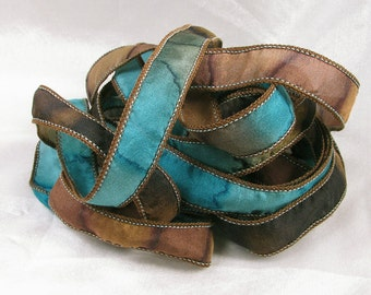 Hand Dyed Silk Ribbons Hand Painted Silk Art  - Jewelry Bracelet Wrist Wrap - Teal Canyon