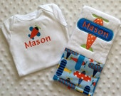 Baby Boy Personalized Gift Set - Bodysuit and Burp Cloth, Airplane