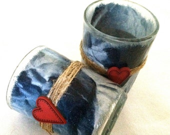 tea light holders red heart denim blue tied with twine 2 paper wrapped