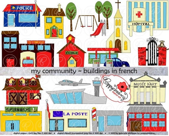 My Community Buildings in FRENCH Clipart: 300 dpi transparent