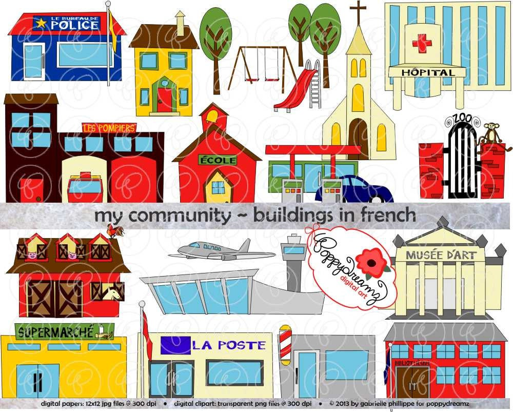 My Community Buildings in FRENCH Clipart: 300 dpi by poppydreamz