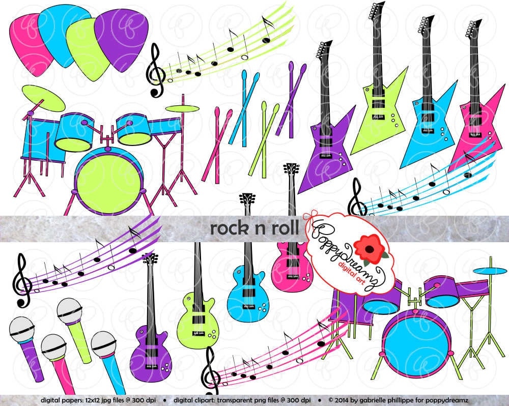 rock n roll music clipart set 300 dpi electric guitar drums rock & roll clipart rock & roll clipart free