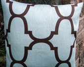 """Closing Shop Designer Decorative Pillow Cover Riad  Trellis-  Blue  and Chocolate Brown - Made to Order - 18"""" x 18"""" Square"""