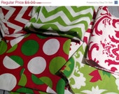 Closing Shop Christmas/Holiday Remnant/DeStash - Home Decor Fabric Bundle - Red, White and Green  - 1 Pound