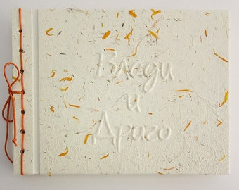 Custom made Wedding Guest Book with handmade paper covers
