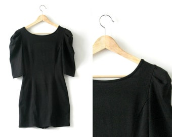 Puff sleeves little black dress - 1980