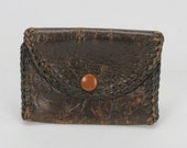Extra Small 1930's Coin Purse Brown Leather with Lacing