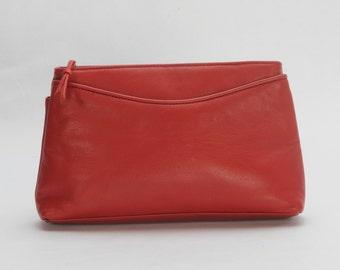 Leather Clutch Purse Cherry Red Handbag
