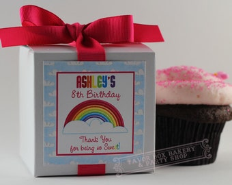 RAINBOW PARTY...One Dozen Personalized Cupcake Mix Party Favors