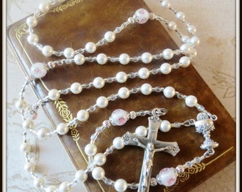 Swarovski White Pearl & Lampwork First Communion Rosary for Girls, Catholic Communion Gift