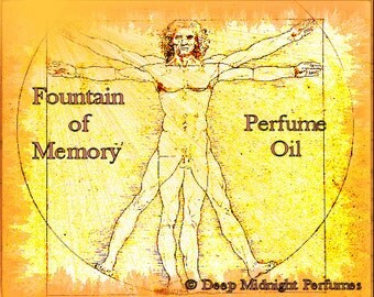 Fountain of Memory Perfume Oil: Incense, aged patchouli, bitter almonds, sandalwood, myrrh, oud wood, jasmine, ylang-ylang, DaVinci's Demons